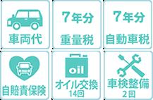 車両代 7年分重量税 7年分自動車税 自賠責保険 オイル交換14回 車検整備2回